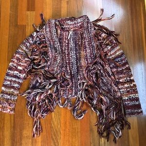 Multicolor cardigan sweater with fringe